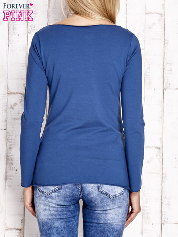 Ciemnoniebieska bluzka z materiałową wstawką                                  zdj.                                  4