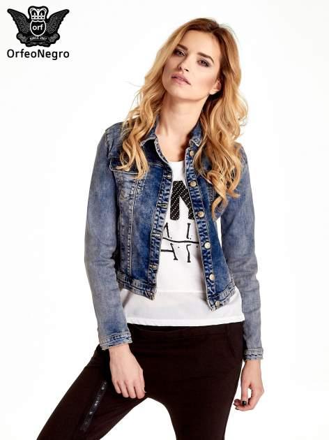 Ciemnoniebieska klasyczna kurtka jeansowa damska