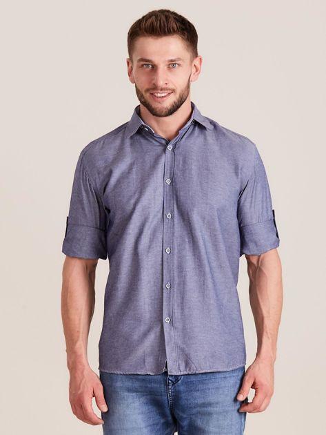 Ciemnoniebieska koszula męska o regularnym kroju                              zdj.                              1