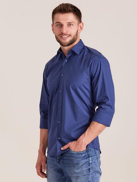 Ciemnoniebieska koszula męska regular                              zdj.                              3