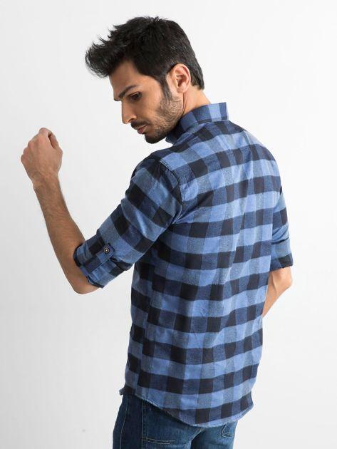Ciemnoniebieska koszula męska slim fit w kratę                              zdj.                              2