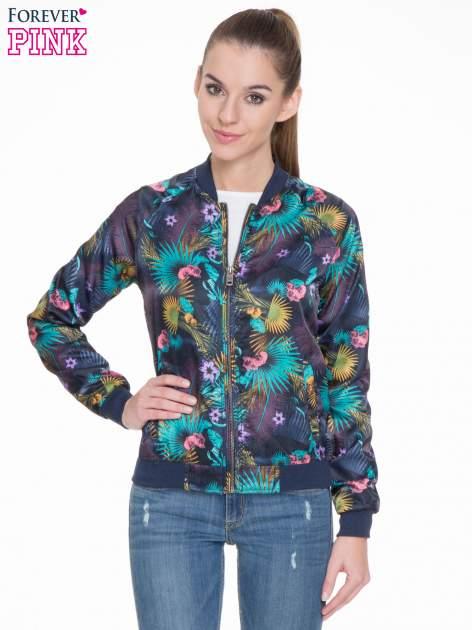 Ciemnoniebieska kurtka bomber jacket w tropical print