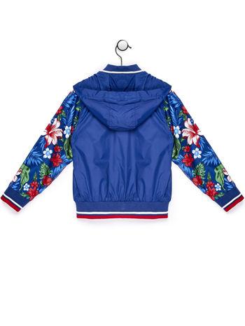 Ciemnoniebieska kurtka dziecięca z kwiatowymi rękawami