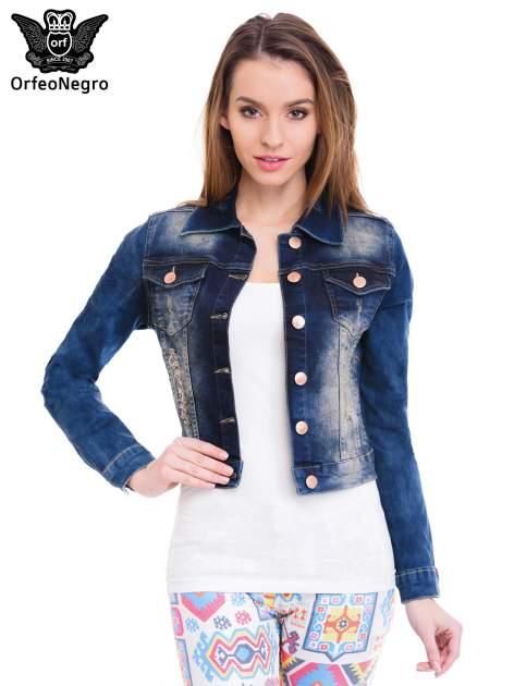 Ciemnoniebieska kurtka jeansowa damska z cieniowaniem i poszarpaniem                                  zdj.                                  1