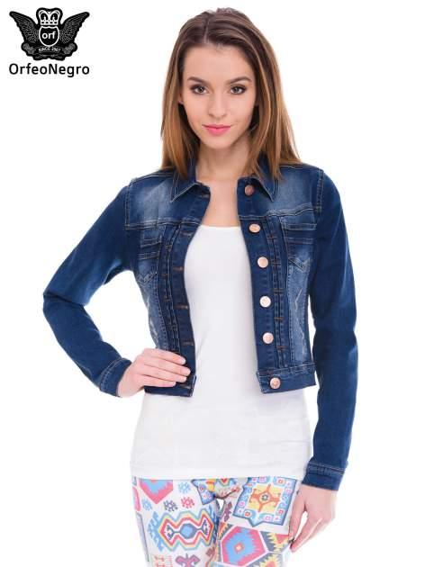 Ciemnoniebieska kurtka jeansowa damska z cieniowaniem i przetarciami