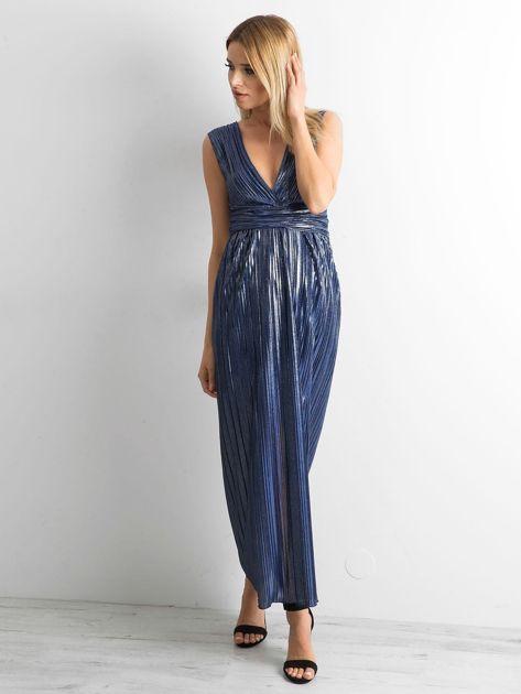 Ciemnoniebieska plisowana sukienka maxi                              zdj.                              4