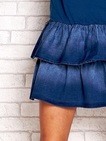 Ciemnoniebieska sukienka dresowa z jeansowym dołem                                  zdj.                                  5