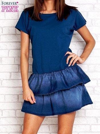 Ciemnoniebieska sukienka dresowa z jeansowym dołem                                  zdj.                                  1