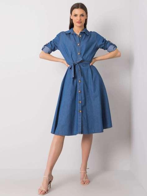 Ciemnoniebieska sukienka na co dzień Tabea