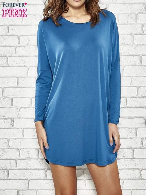 Ciemnoniebieska sukienka z rozporkami po bokach                                  zdj.                                  1