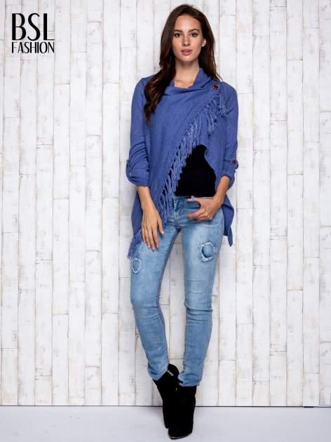 Ciemnoniebieski otwarty sweter z podwijanymi rękawami                                  zdj.                                  4