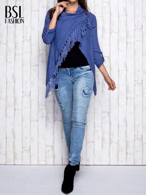 Ciemnoniebieski otwarty sweter z podwijanymi rękawami                                  zdj.                                  7
