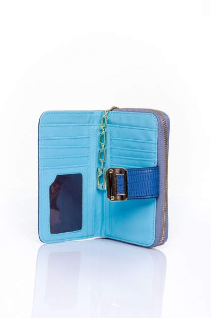 Ciemnoniebieski portfel z ozdobną złotą klamrą                                  zdj.                                  4