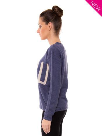 Ciemnoniebieski sweter z sercem i napisem YOU                                  zdj.                                  4