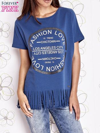 Ciemnoniebieski t-shirt z nadrukiem i frędzlami