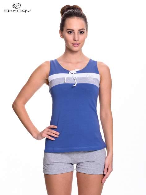 Ciemnoniebieski top sportowy z wiązaniem w stylu marynarskim                                  zdj.                                  1