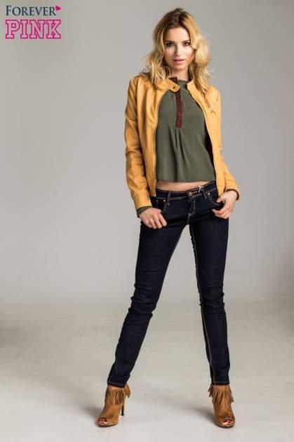 Ciemnoniebieskie klasyczne spodnie jeansowe rurki                                  zdj.                                  6