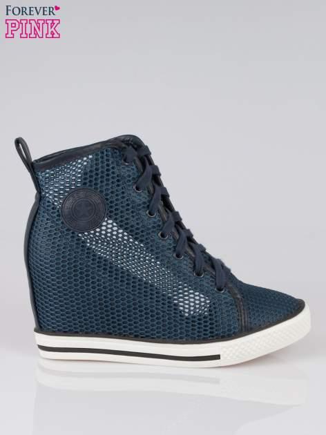 Ciemnoniebieskie siateczkowe sneakersy damskie