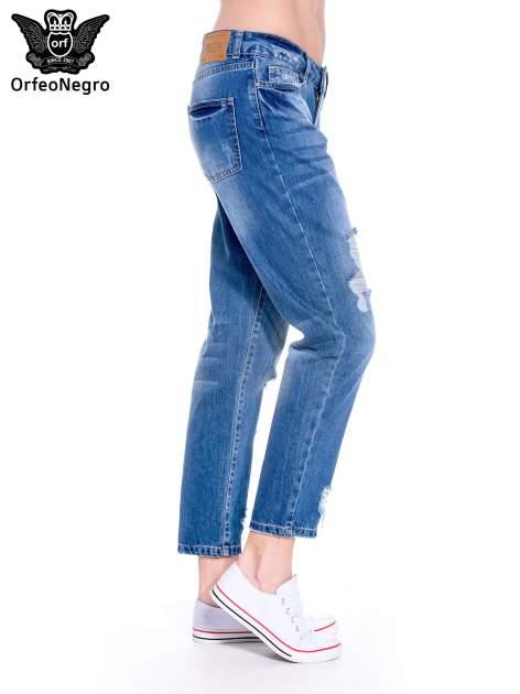 Ciemnoniebieskie spodnie boyfried jeans z dziurami                                  zdj.                                  4
