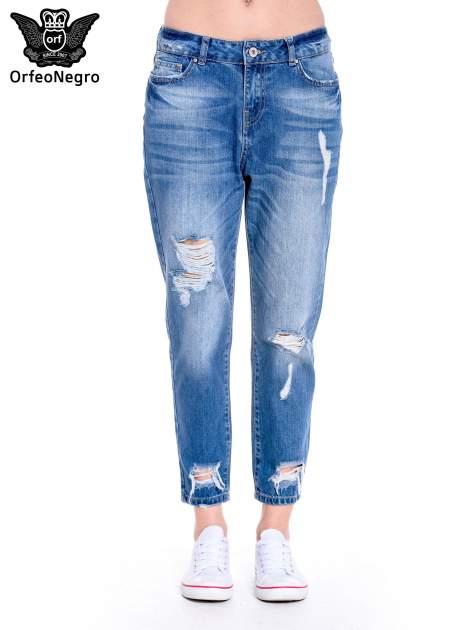 Ciemnoniebieskie spodnie boyfried jeans z dziurami                                  zdj.                                  3