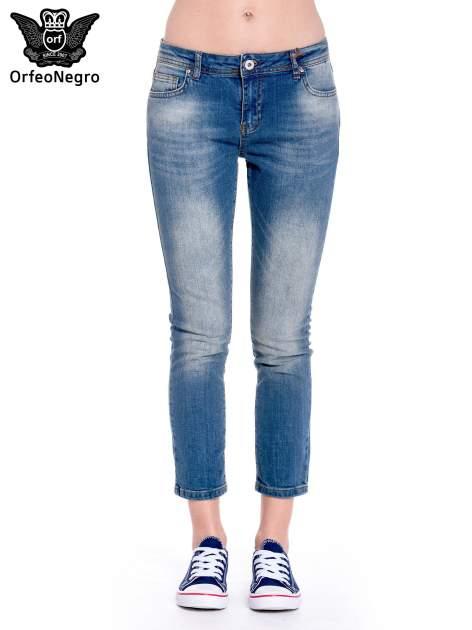 Ciemnoniebieskie spodnie girlfriend jeans z cieniowaniem                                  zdj.                                  3