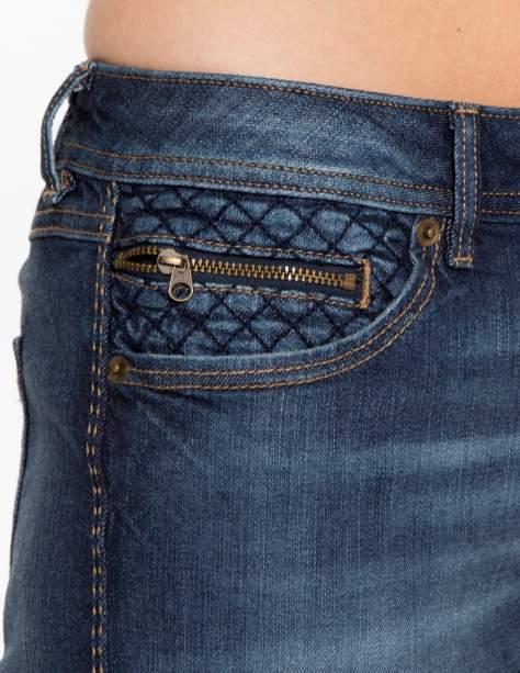 Ciemnoniebieskie spodnie jeansowe rurki z pikowanymi wstawkami                                  zdj.                                  8