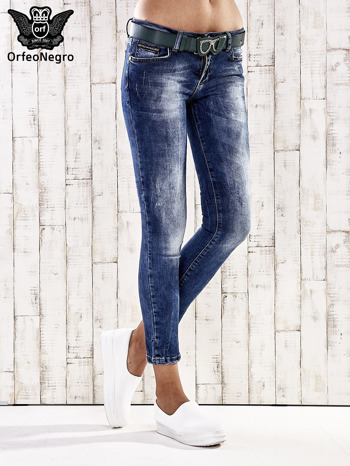 Ciemnoniebieskie spodnie skinny jeans z paskiem                                  zdj.                                  1