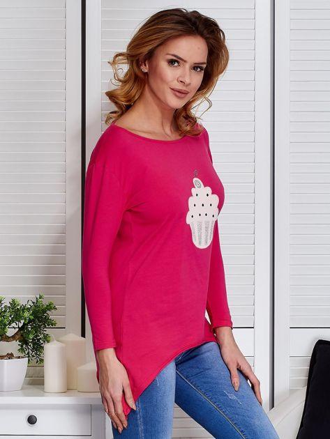 Ciemnoróżowa asymetryczna bluzka z babeczką                                  zdj.                                  3