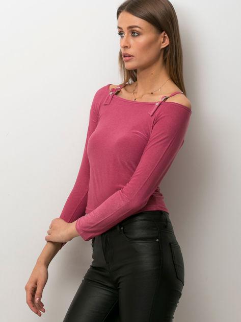 Ciemnoróżowa bluzka damska cut out                              zdj.                              3