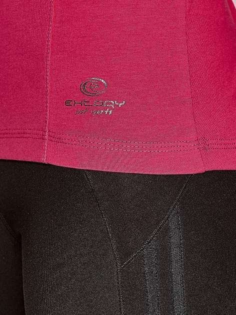 Ciemnoróżowa bluzka sportowa z dekoltem U                                  zdj.                                  4