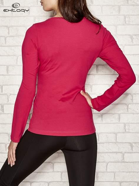 Ciemnoróżowa bluzka sportowa z dekoltem U                                  zdj.                                  3