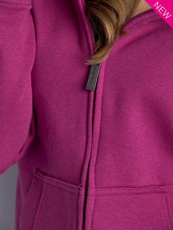 Ciemnoróżowa dresowa bluza sportowa z kapturem                                  zdj.                                  4