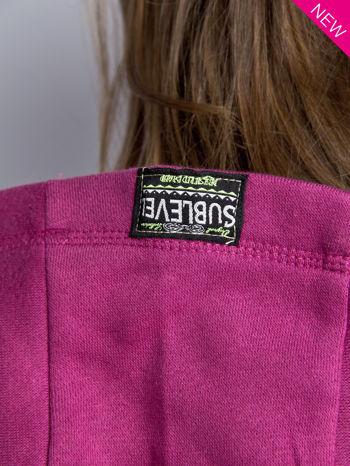 Ciemnoróżowa dresowa bluza sportowa z kapturem                                  zdj.                                  7