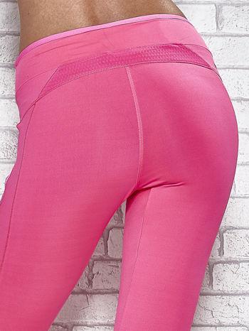 Ciemnoróżowe legginsy 3/4 sportowe termalne z lampasami                                  zdj.                                  6