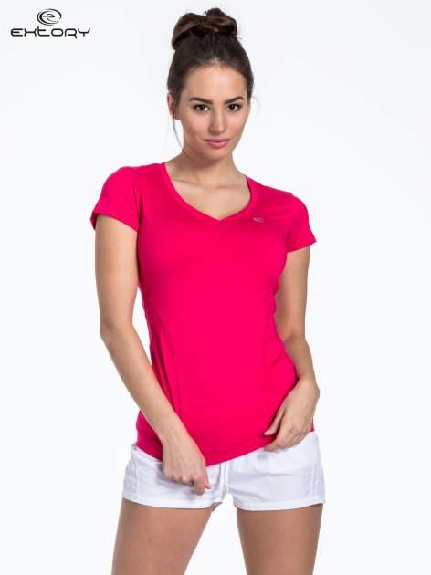 Ciemnoróżowy t-shirt sportowy termoaktywny z dekoltem V                                  zdj.                                  1