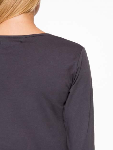 Ciemnoszara basicowa bluzka z długim rękawem                                  zdj.                                  8