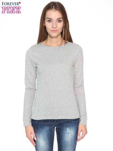 Ciemnoszara bawełniana bluzka typu basic z długim rękawem                                  zdj.                                  1