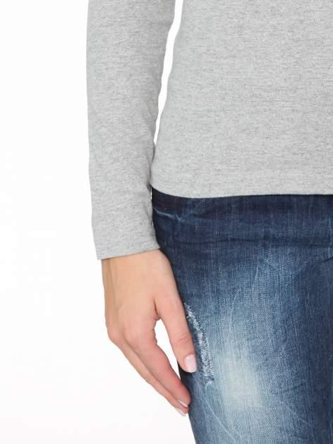 Ciemnoszara bawełniana bluzka typu basic z długim rękawem                                  zdj.                                  7