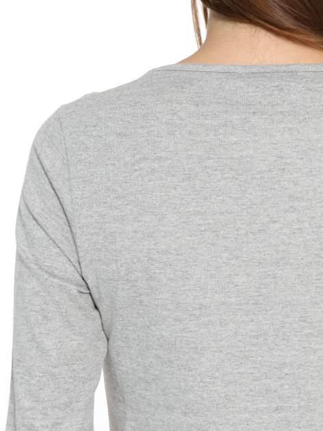 Ciemnoszara bawełniana bluzka typu basic z długim rękawem                                  zdj.                                  9