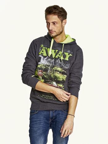 Ciemnoszara bluza męska z kapturem z napisem FAR AWAY                                  zdj.                                  1