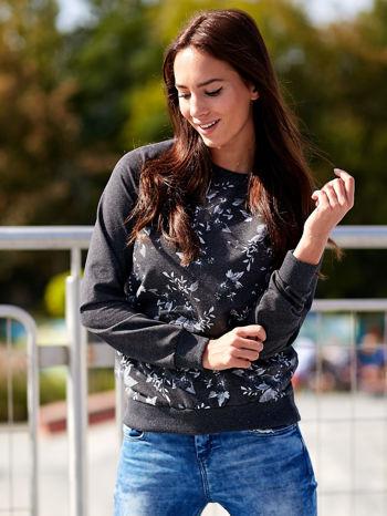 Ciemnoszara bluza z kwiatowym nadrukiem