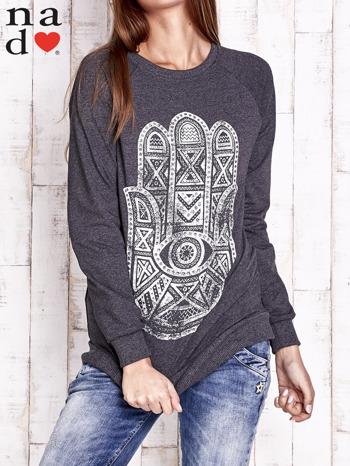 Ciemnoszara bluza z motywem dłoni                                  zdj.                                  1