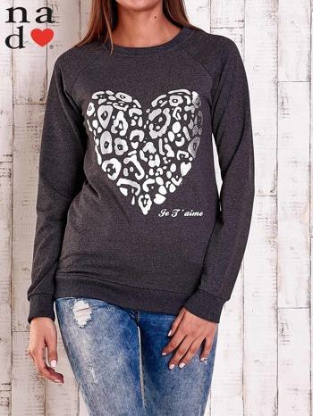 Ciemnoszara bluza z nadrukiem serca i napisem JE T'AIME                                   zdj.                                  1