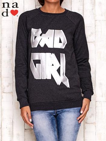 Ciemnoszara bluza z napisem BAD GIRL                                  zdj.                                  1