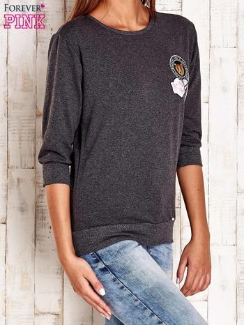 Ciemnoszara bluza z naszywkami i ściągaczami                                  zdj.                                  3