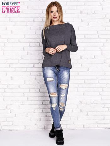 Ciemnoszara bluza z szerokim ściągaczem i troczkami                              zdj.                              4