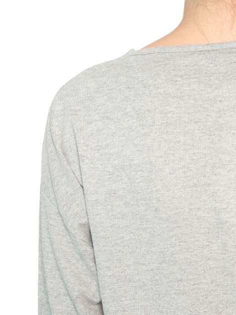 Ciemnoszara bluzka z rękawem 3/4 i lekkim ściągaczem na dole                                  zdj.                                  8