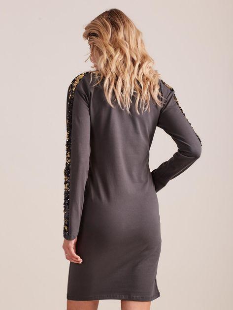 Ciemnoszara dopasowana sukienka z dekoltem V i cekinami                              zdj.                              2