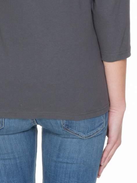 Ciemnoszara gładka bluzka z rękawem 3/4                                  zdj.                                  8