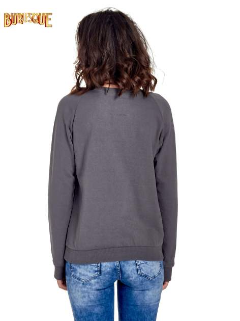 Ciemnoszara klasyczna bluza damska z napisem WORK OUT                                  zdj.                                  4